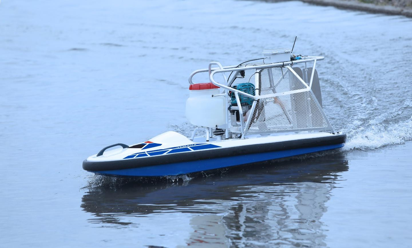 The Yamaha Water Strider sprays herbicide from its hull