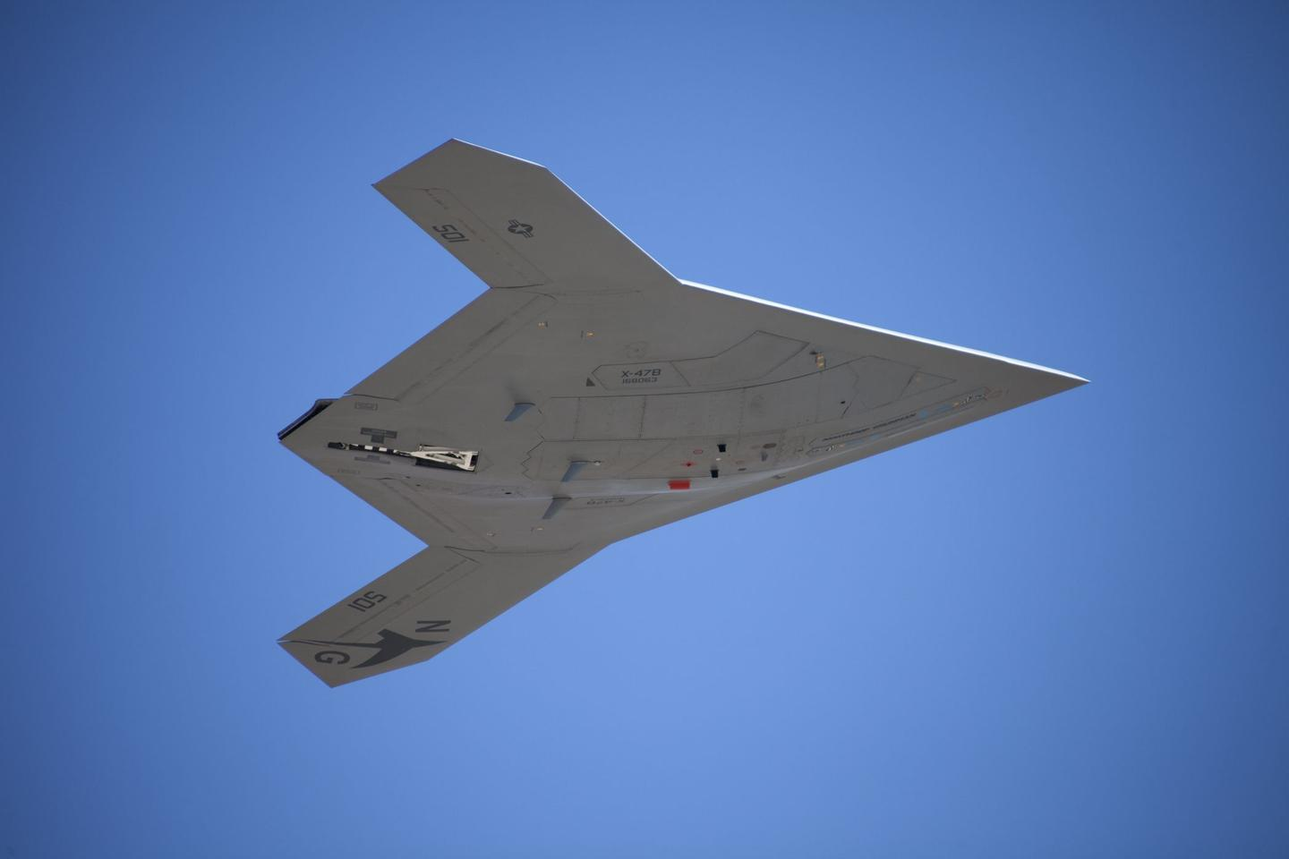 The X-47B demonstrator's first flight in cruise configuration