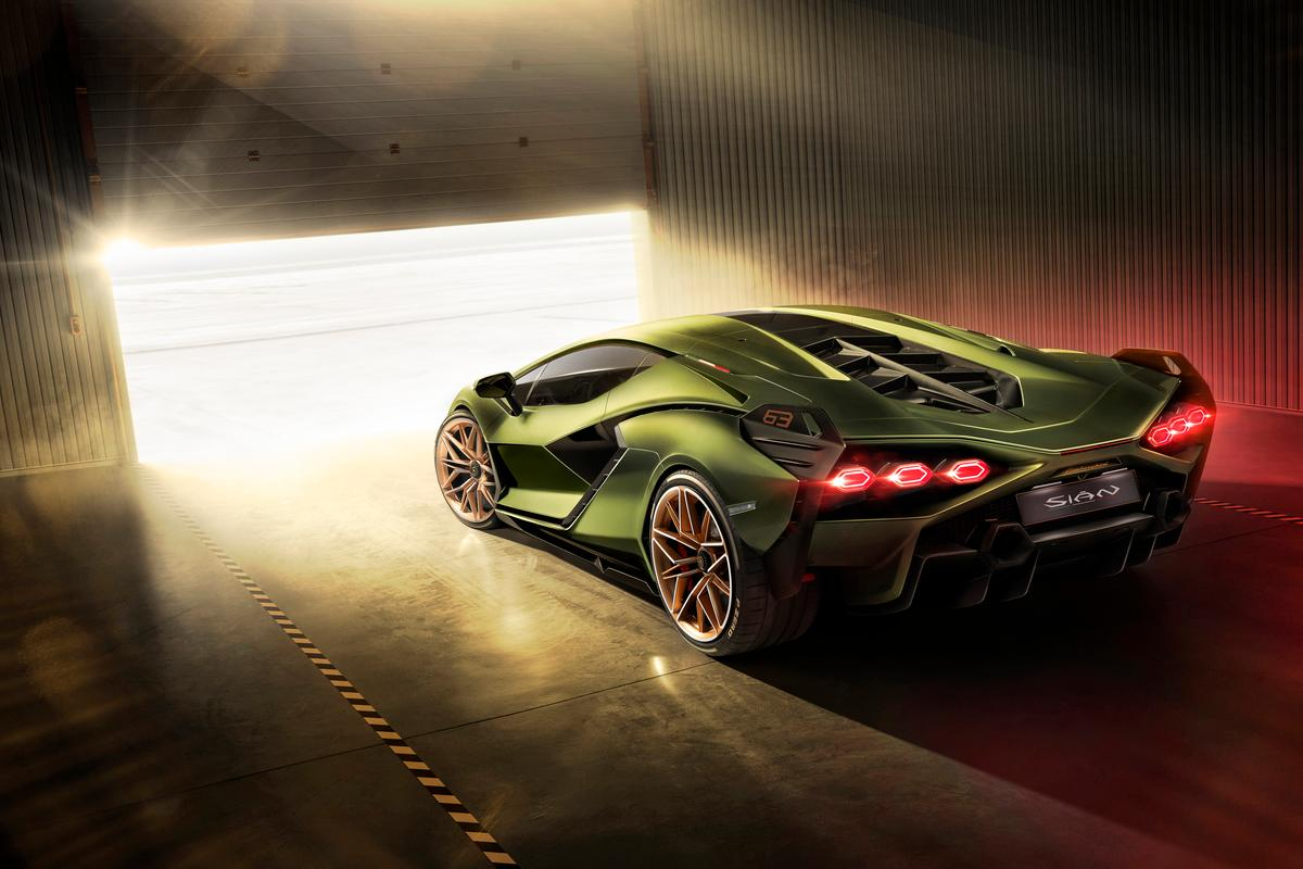 Sensual curves meet jagged angles in the remarkable Sian, Lamborghini's first hybrid and the first car in production history to use a supercapacitor hybrid system