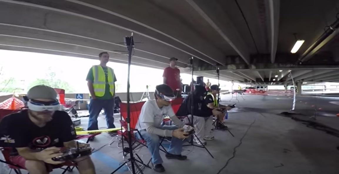 A few of the contestants practicing ahead of the International Drone Expo MultiGP races