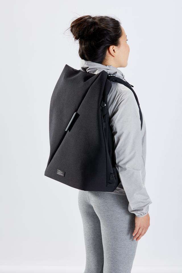 In compact mode, the RiutBag X35 is used as an everyday commute backpack