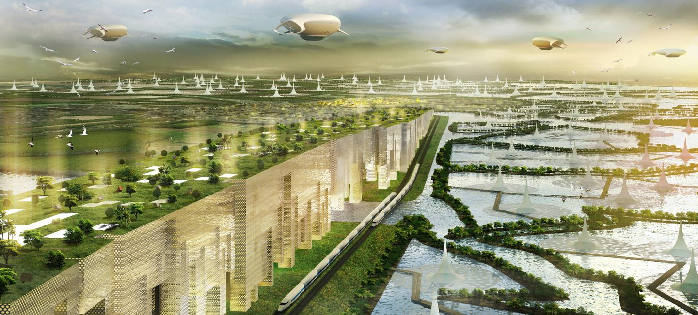 """Shma's bold """"water city"""" concept is a reimagining of the medieval Thai city of Ayutthaya, that rethinks flood defenses for the 21st century by drawing inspiration from the past"""