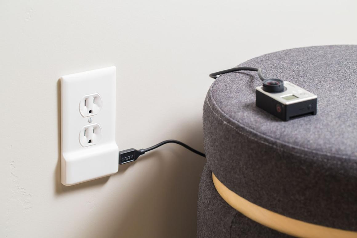 The SnapPower Charger is installed in place of an existing wall outlet cover plate