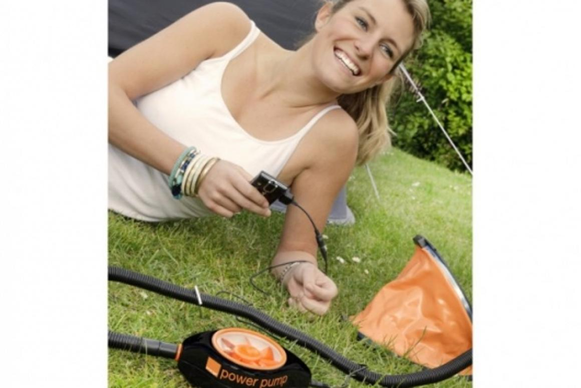 The Orange Power Pump - by treading on a standard camping air foot-pump, the kinetic energy created drives a small turbine inside the compact Power Pump