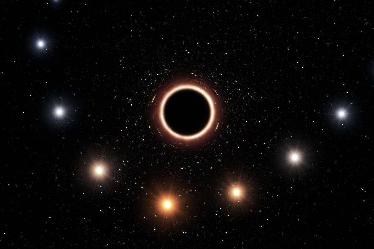 """An artist's imagining of gravitational redshift at work – as the star swings past close to the supermassive black hole, its light is """"stretched"""" out so that it appears red from Earth"""