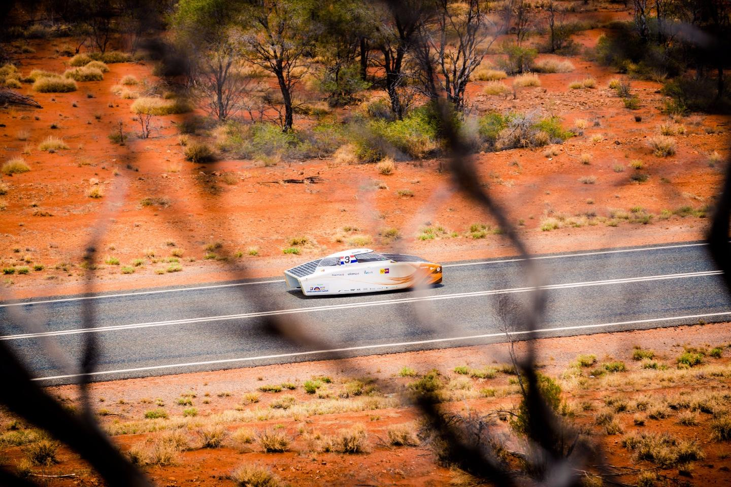 TheNuon Solar Team's Nuna9 car in action during the World Solar Challenge