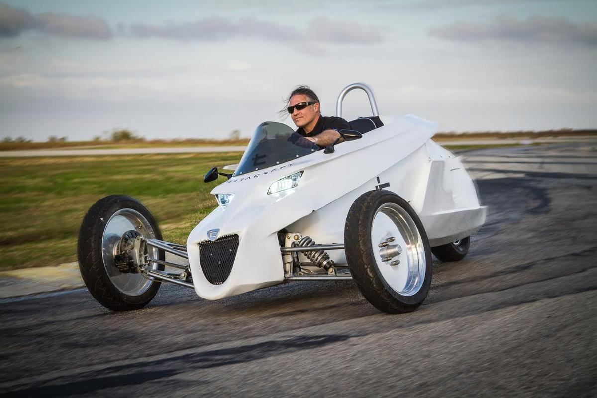 "Inventor James ""Wes"" Abbott takes to the track in the Terracraft SuperTrike"