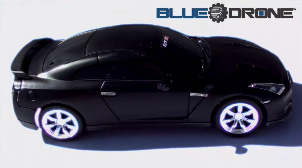 BlueDrone is an RC Nissan GT-R model controlled by an Android-based device via Bluetooth connectivity