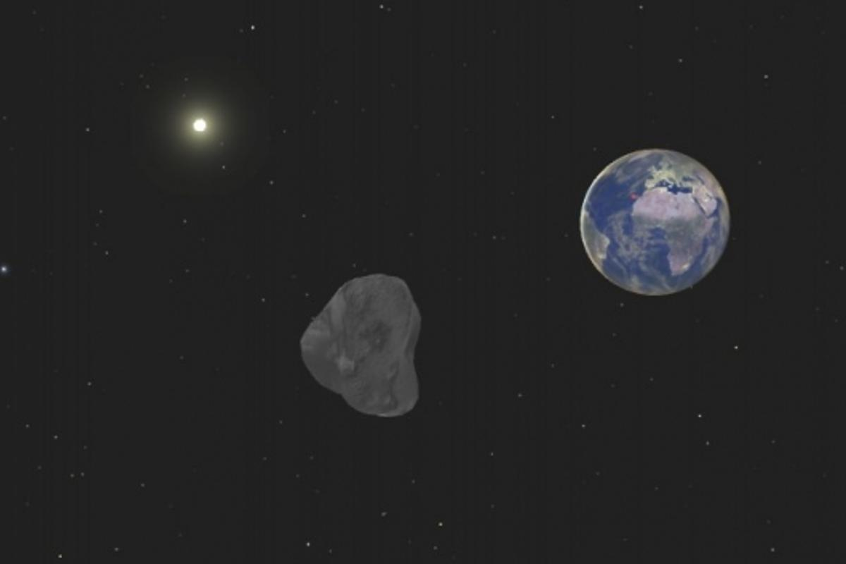 Simulated image of asteroid 2008 TC3 (Credit: Queens University Belfast)
