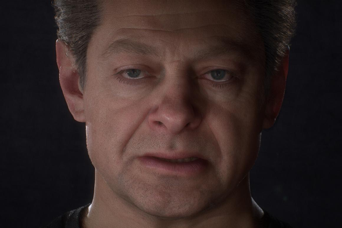 A computer-generated Andy Serkis demonstrates the latest advance in photorealistic digital avatars