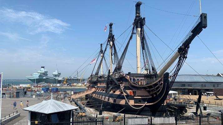 HMS Victory now rests on new supports installed as part of a major renovation project