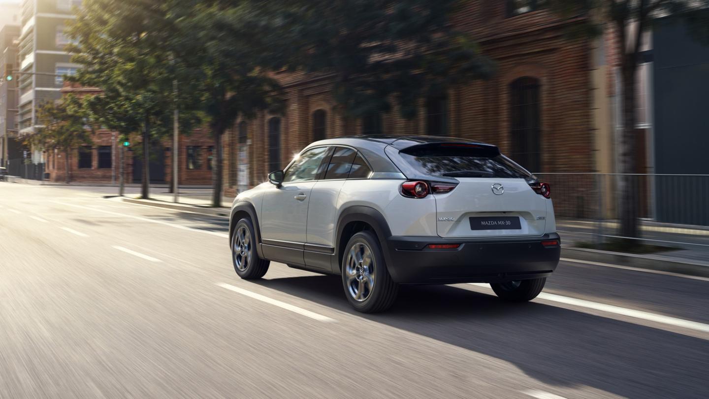The MX-30 will be sold in California only, at least for now, but a plug-in hybrid model will be coming soon and may see wider distribution