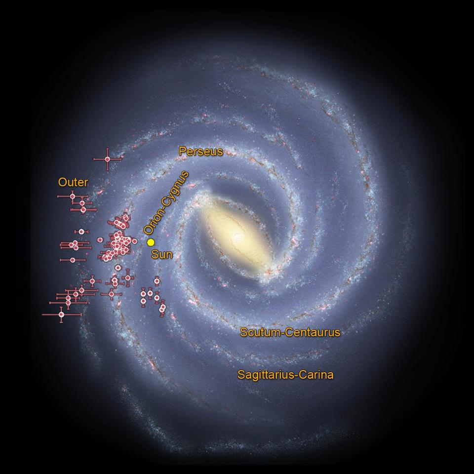 NASA image displaying the location of young star clusters pinpointed from data collected by NASA's WISE spacecraft