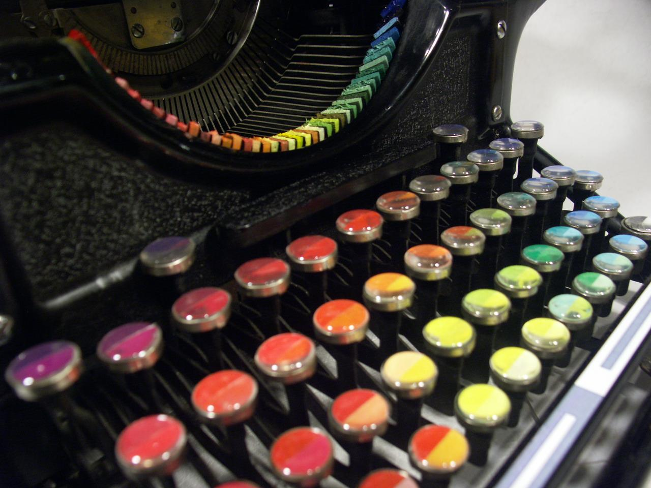 Each key on the typewriter's keyboard corresponds to a different hue