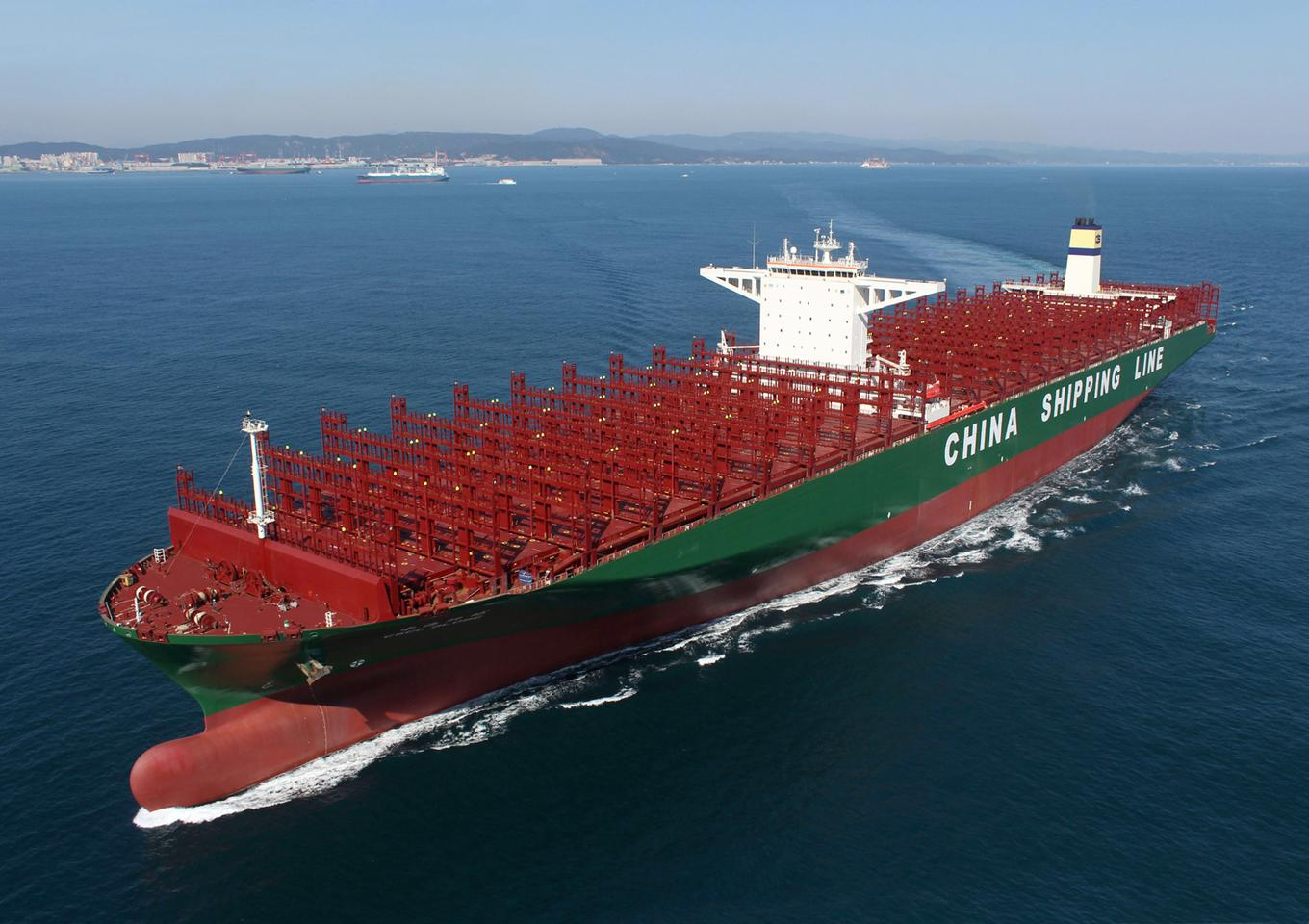 The CSCL Globe, shown here on sea trials, has embarked on its maiden voyage (Photo: HHI)