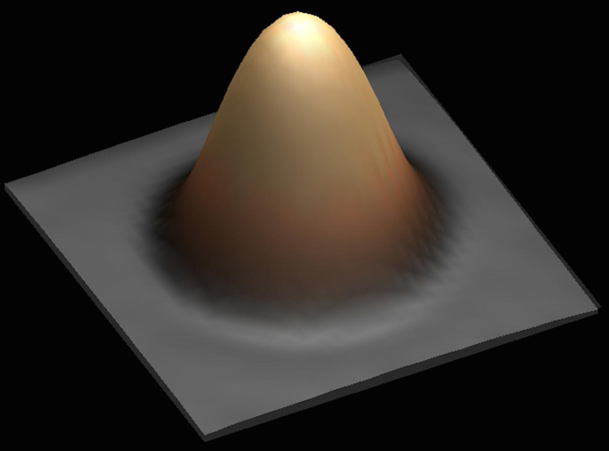 One bit of data was stored on a single atom of holmium, seen here through a scanning tunnelling microscope