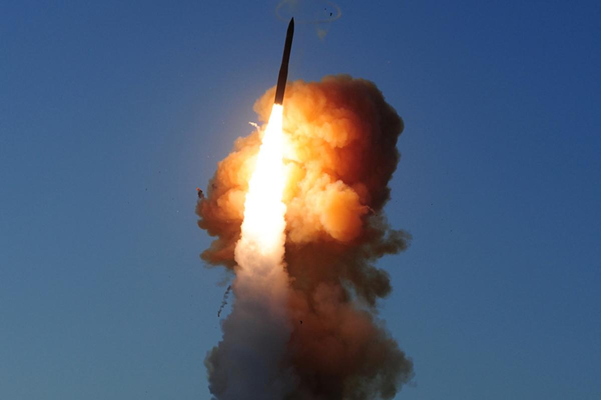 "A dummy target was launched by an ICBM similar to this one before being destroyed by a ""two-shot salvo"""