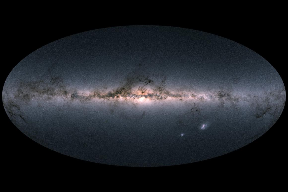 Gaia's all-sky view of the Milky Way and neighboring galaxies – bright regions towards the middle indicate the star-dense galactic center, while the darker wisps indicate interstellar dust. The two bright blobs on the lower right are the Large and Small Magellanic Clouds, two dwarf galaxies that orbit the Milky Way