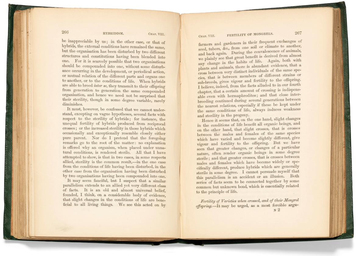 On the Origin of Species by Means of Natural Selection by Charles Darwin (1859) |Auction Description| Estimate: 177,240 to $253,200 | Auction Date: July 9, 2019
