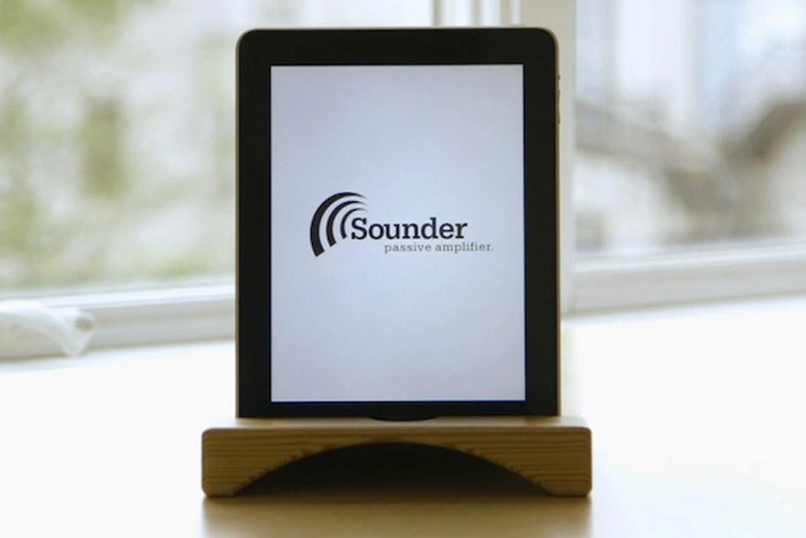 The Sounder is an iPad and iPhone4/S stand and natural amplifier which promises to double the volume of the device used