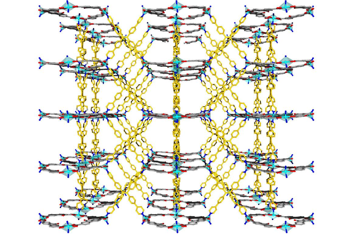 A view of the crystal structure of an organic framework that traps heavy metals
