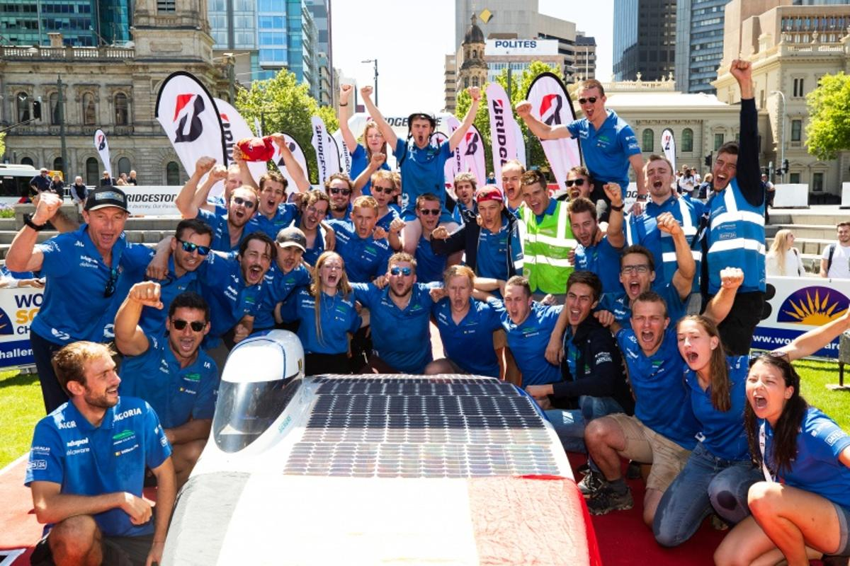 The Agoria Solar Team celebrates victory at the 2019 World Solar Challenge