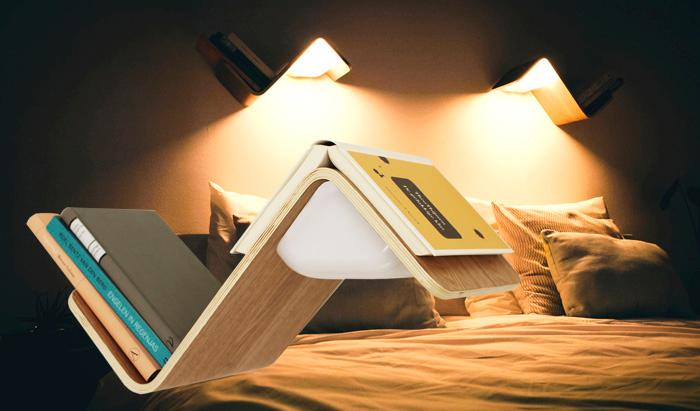 LiliLite offers an all-in-one bookshelf, bookmark, and book lamp