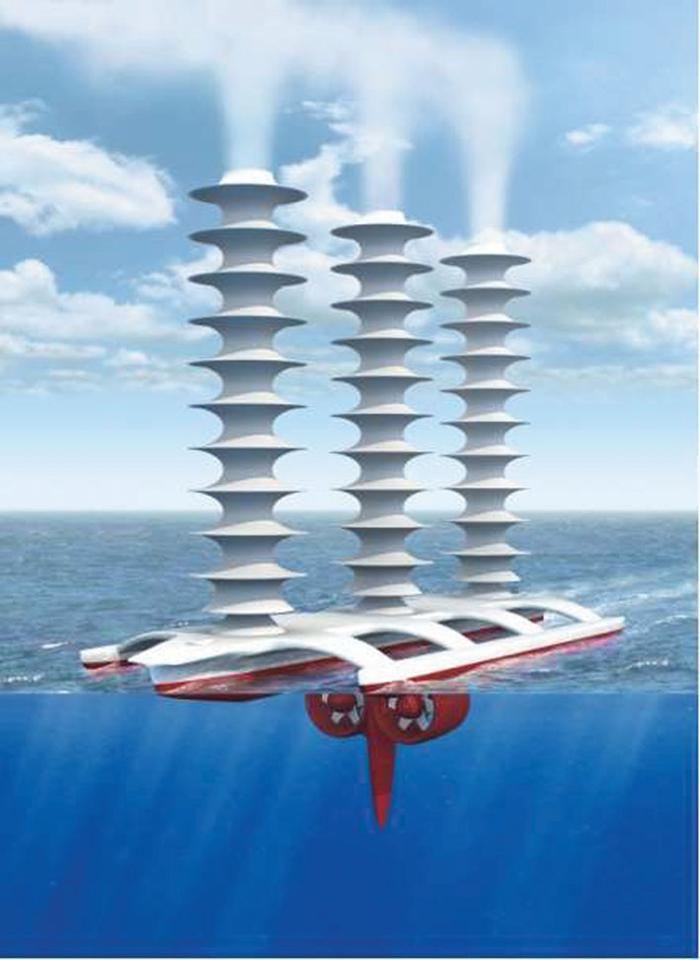 An artist's rendition of a cloud-brightening ship concept, from the University of Washington