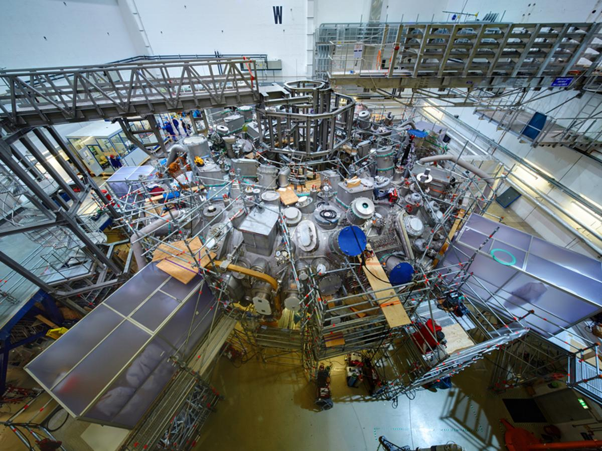 The outside of the Wendelstein 7-x stellarator with its conglomeration of equipment, ports, and supporting structure