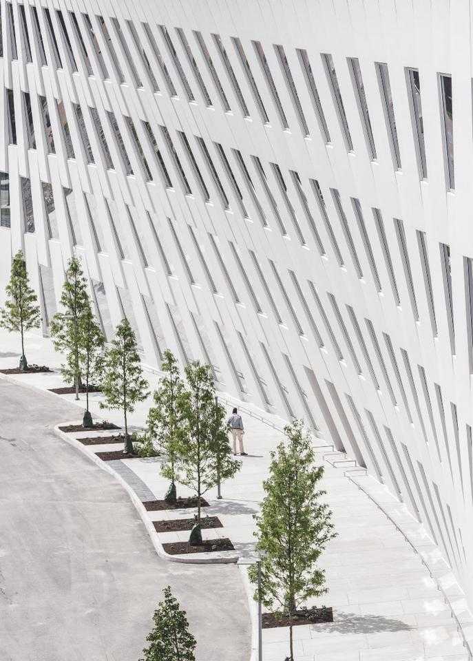 The distinctive ship-like shape of 1200 Intrepid Avenue's facade is formed from precast concrete panels