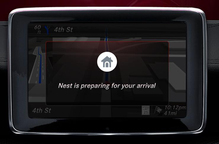 Mercedes-Benz is integrating with Nest to offer drivers the ability to coordinate their home temperature with arrival estimates (Image: Mercedes-Benz)