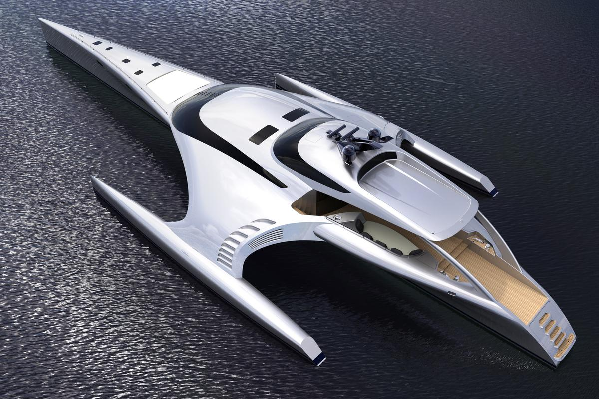 The Adastra is a one-off luxury trimaran, currently under construction in China (Image: John Shuttleworth Yacht Designs)