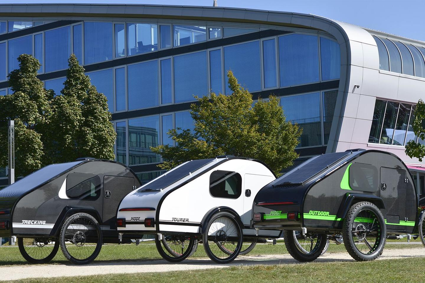 All three Bicycle Caravan models lined up and ready to tour