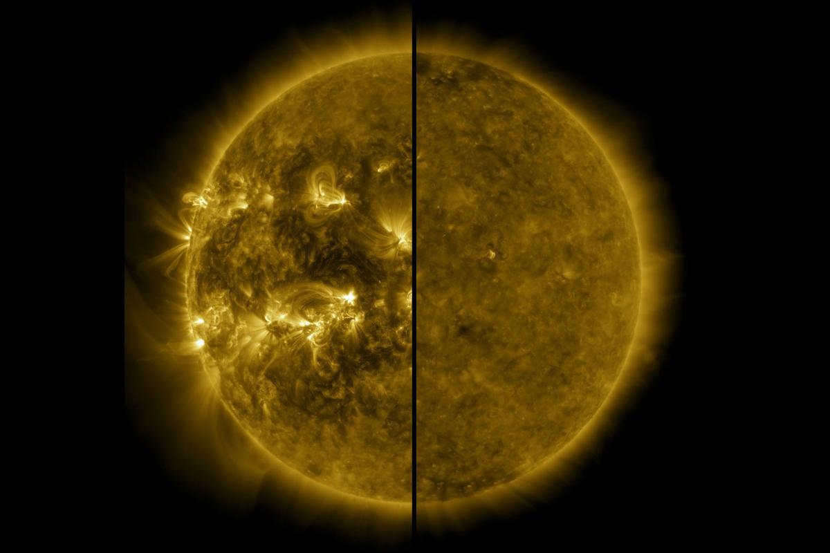 The Sun during its last solar maximum (left) in April 2014, compared to its last solar minimum (right) in December 2019