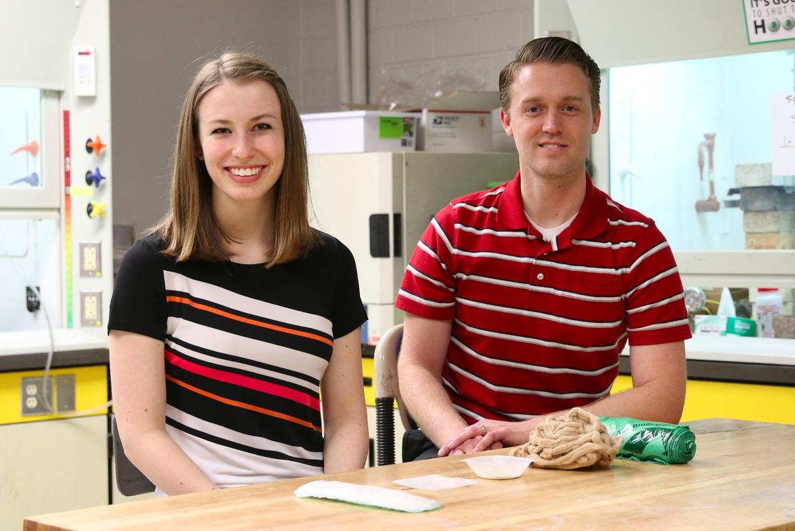Materials science and engineering student Amber Barron, and materials science and engineering assistant professor Jeff Bates