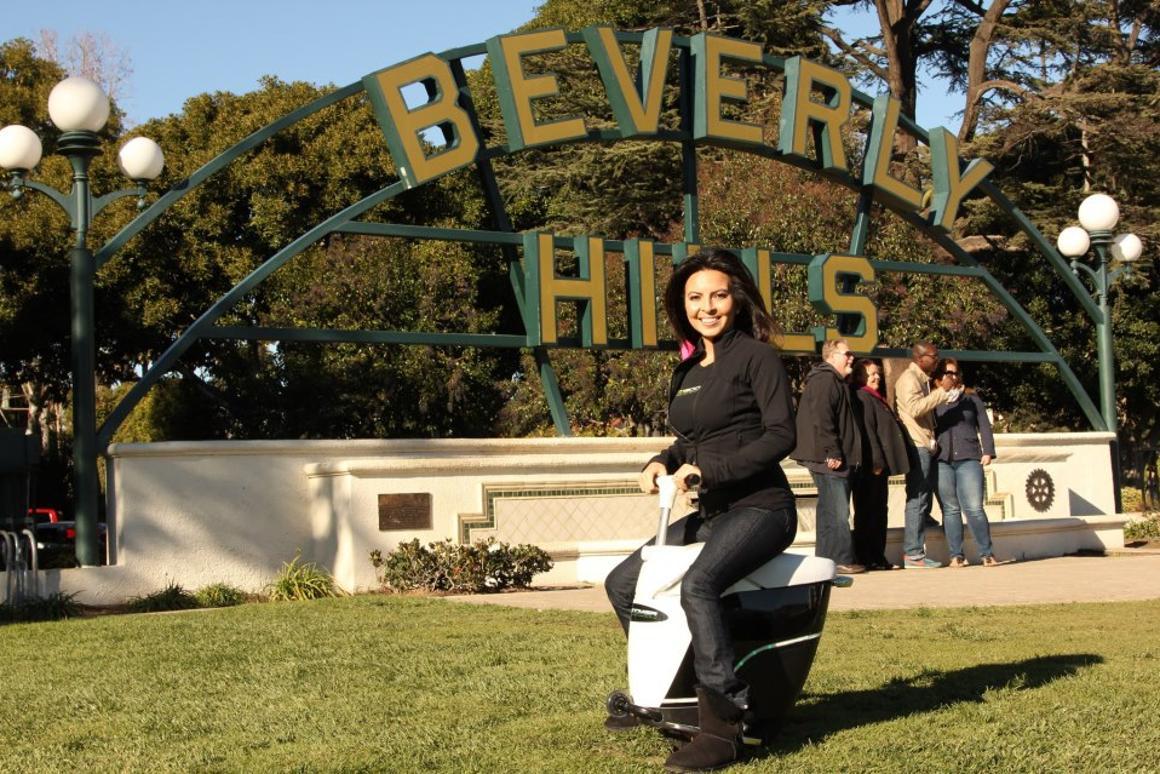 The EcoBoomer iGo cruising Beverly Hills