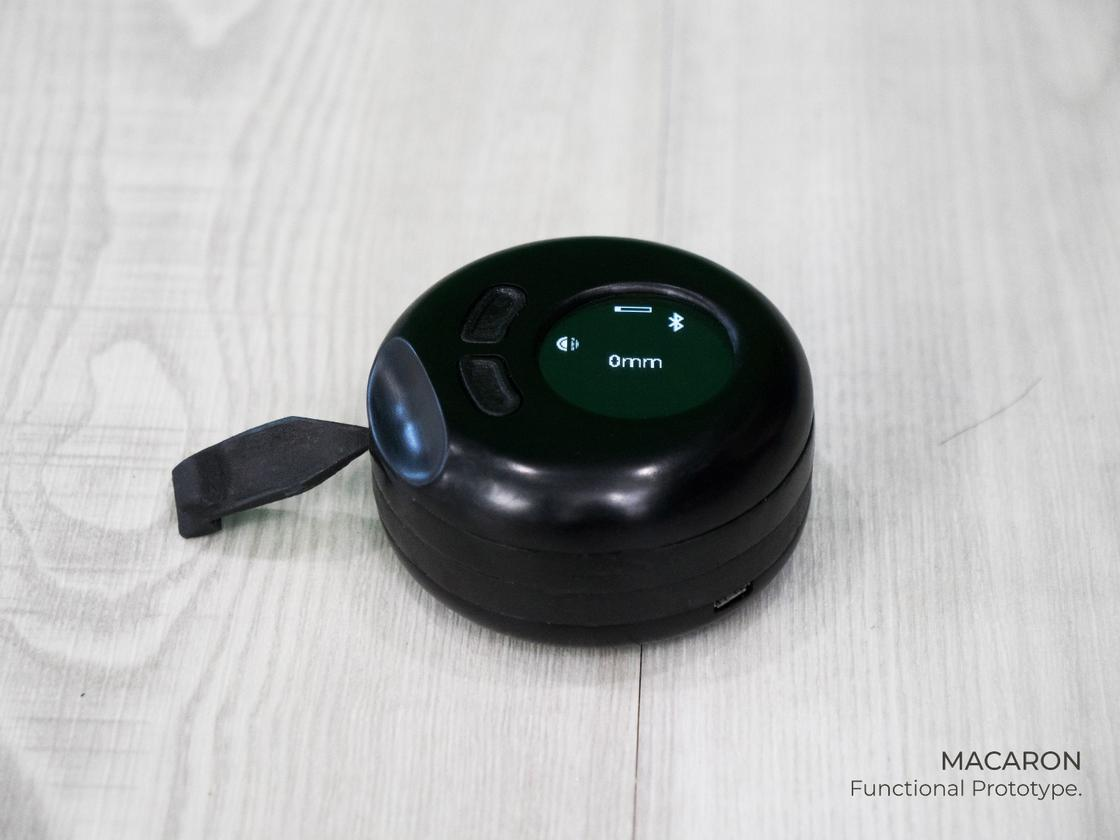 The Macaron is a sleek, small and circular tape measure that pairs with a companion mobile app over Bluetooth