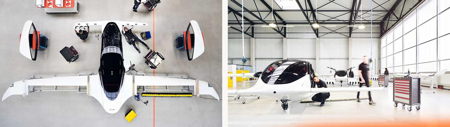 Engineers work on the Lilium aircraft at the company's facility in southern Germany