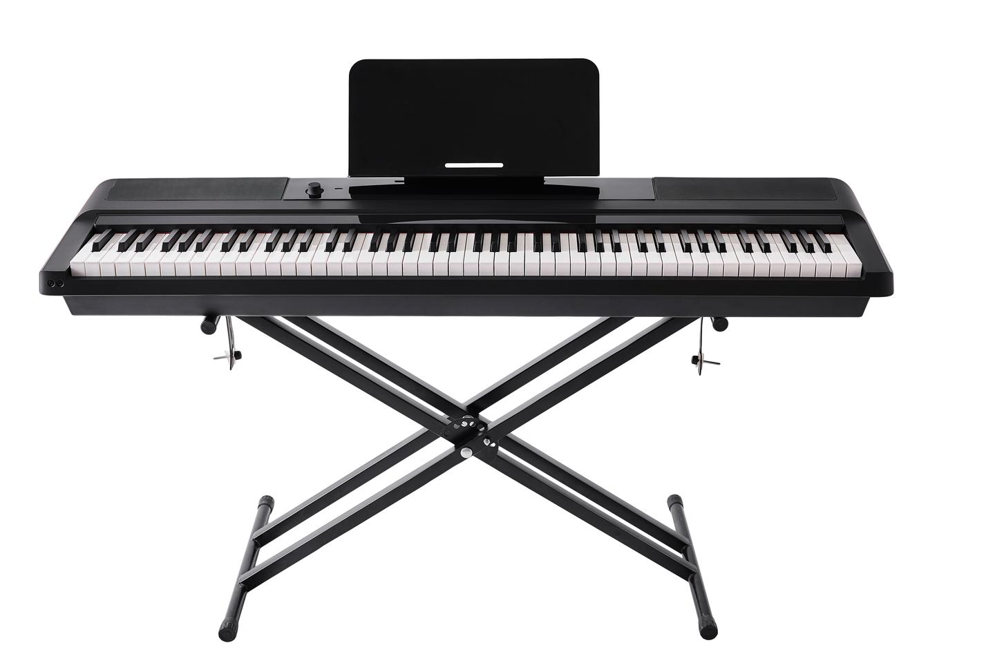 The One Keyboard Pro Essential smart learning piano features 88 hammer-weighted keys, built-in speakers and 128 note polyphony