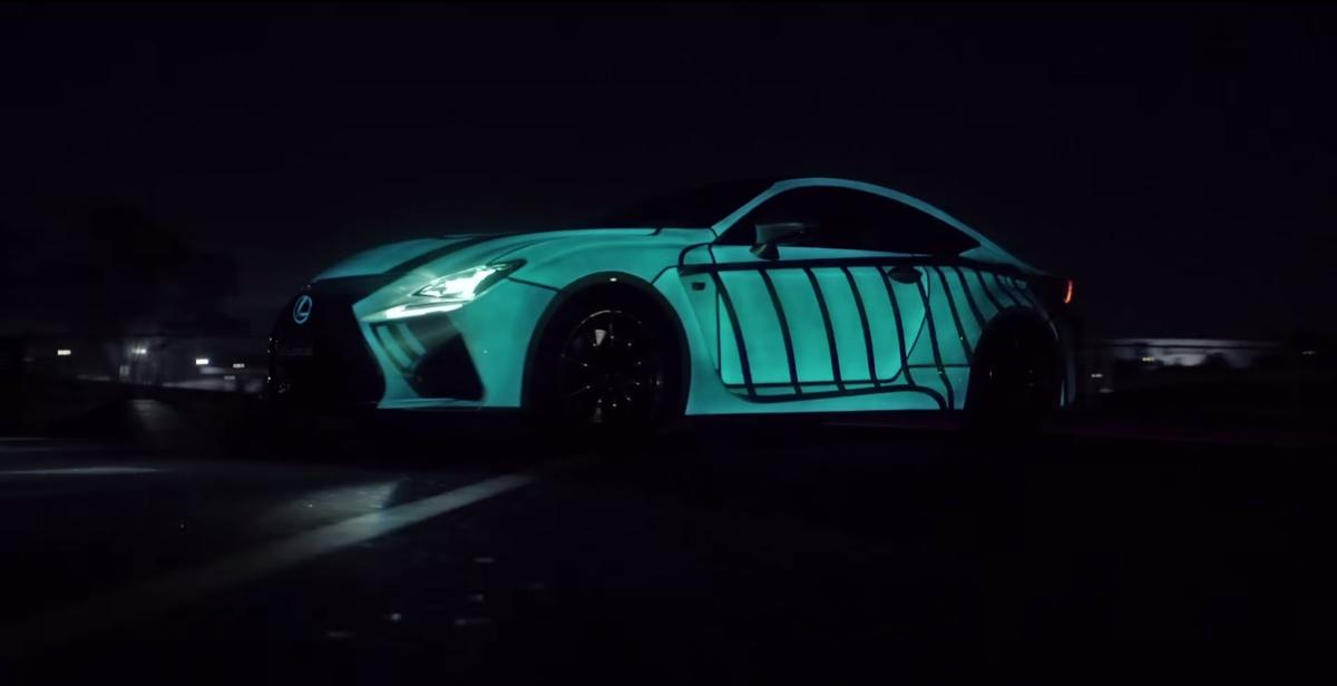 The Lexus RC F V8 coupe is painted with electroluminescent paint that reacts to electricity