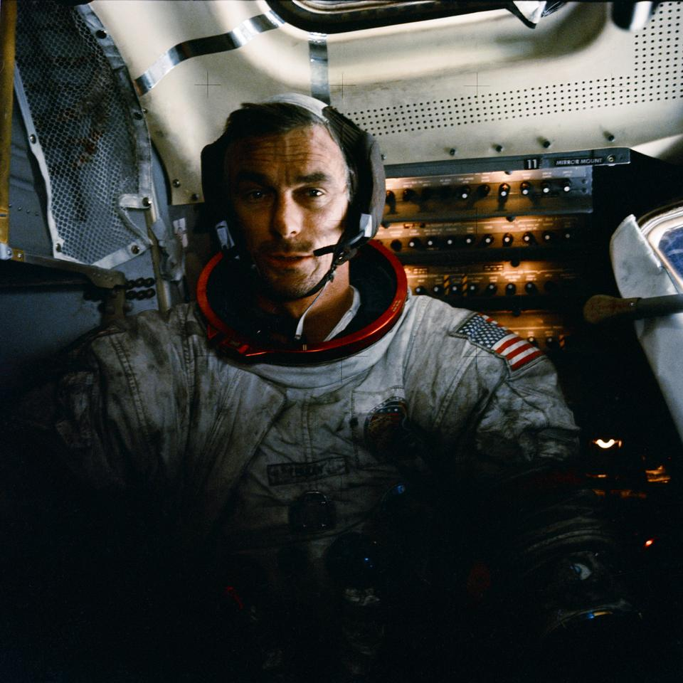 Apollo 17 Commander Eugene Cernan showing the moondust clinging to his spacesuit (Photo: NASA)