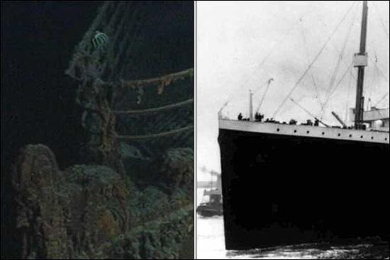 The rusticle-encrusted Titanic at the bottom of the ocean (left), and the RMS Titanic before tragedy struck (right)