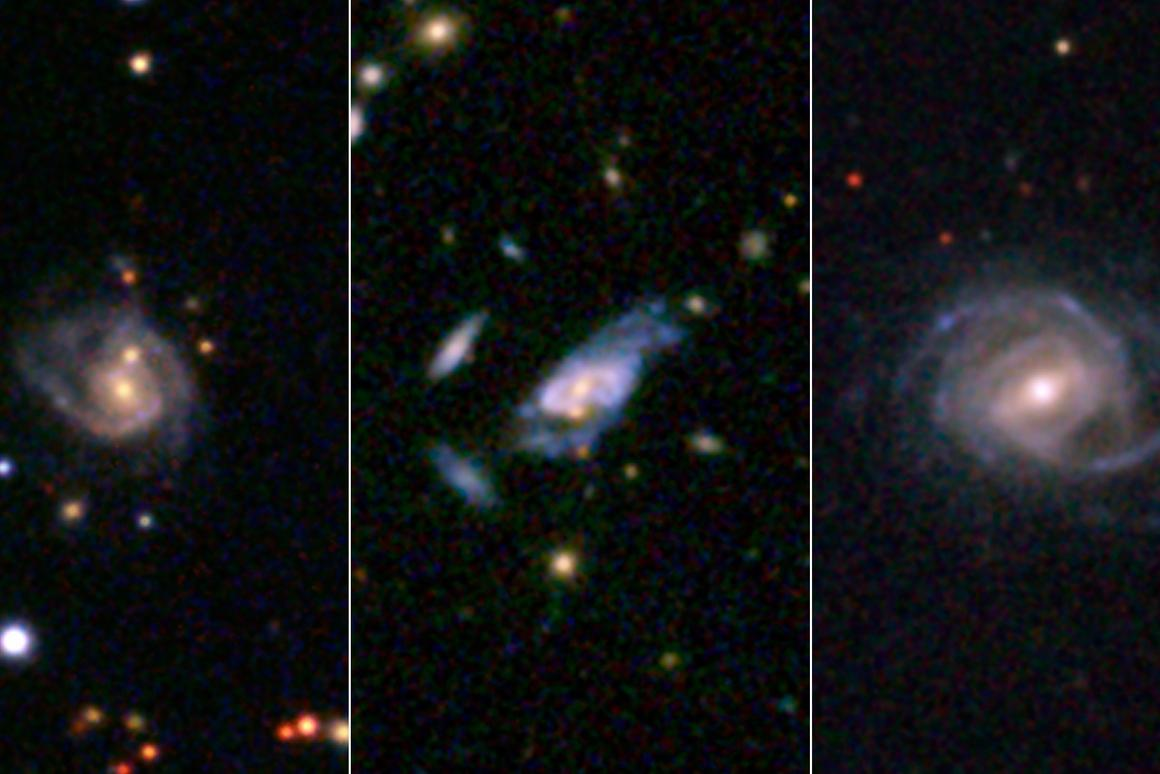 Three examples of super spiral galaxies discovered in the recent study