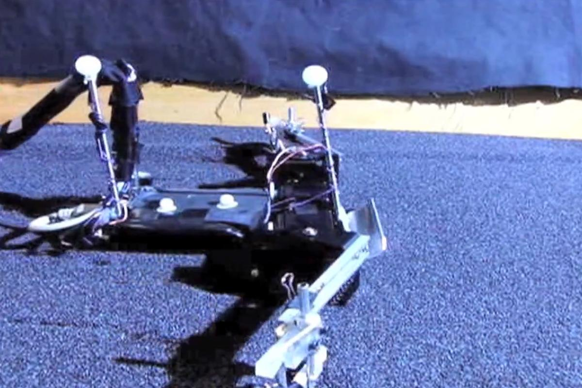 FlipperBot makes its way through a bed of poppy seeds (Video still: Institute of Physics)