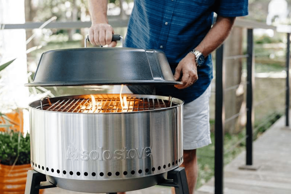 The Solo Stove Grill stands 37.5 in tall (95.25 cm) tall with the lid on