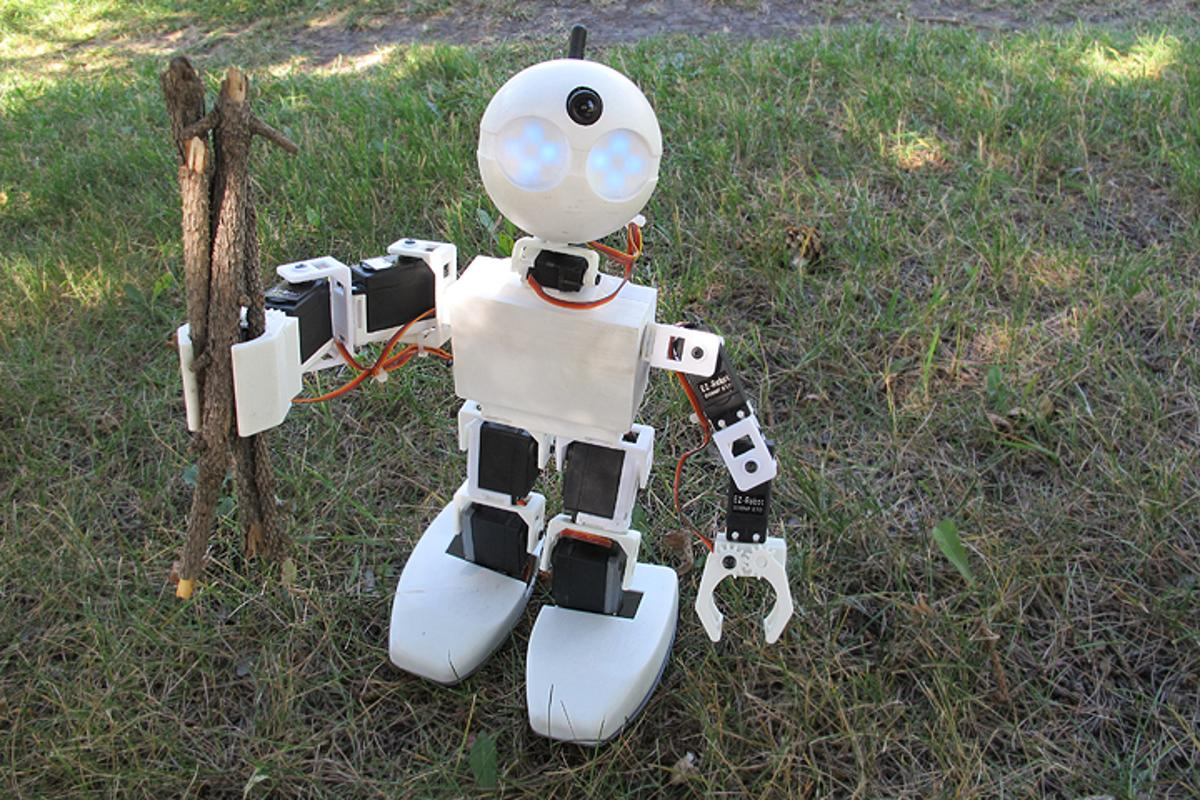 The Revolution JD is a humanoid robot with two-fingered grippers