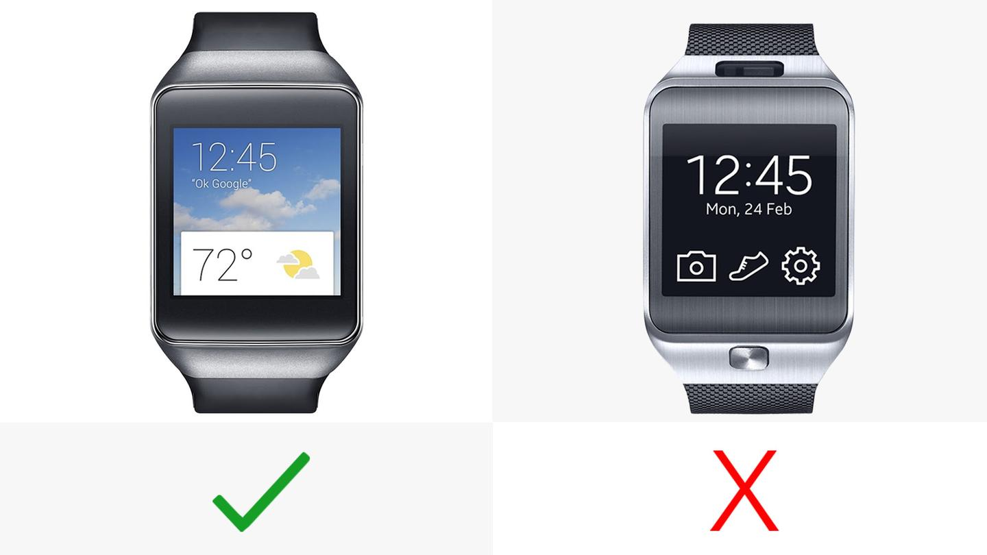 The Samsung Gear Live (left) has an always-on display; the Gear 2 doesn't