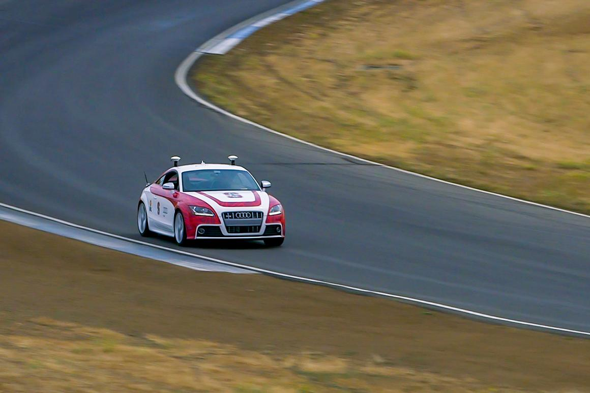 Shelley, Stanford's autonomous Audi TTS, in action at Thunderhill Raceway