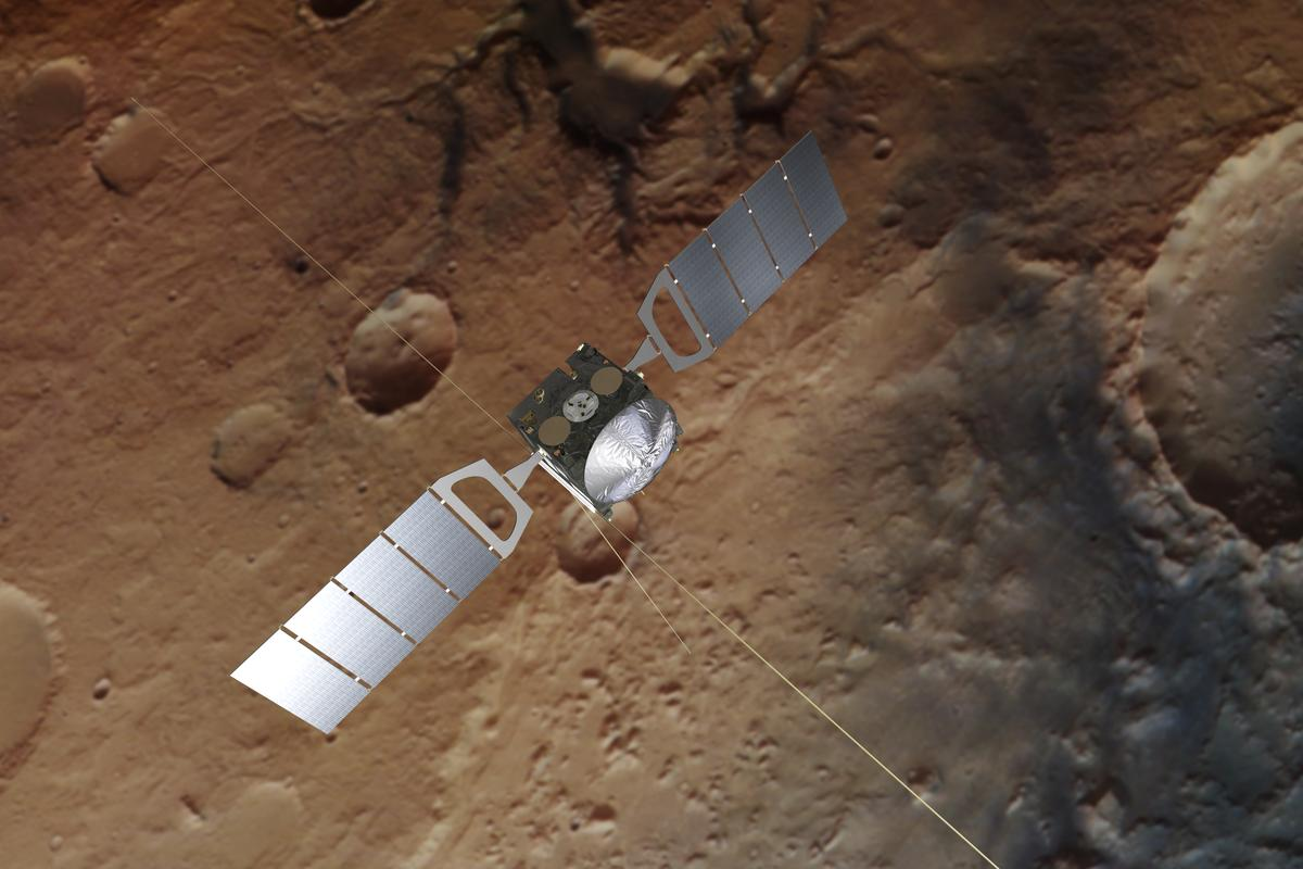 Artist's impression of Mars Express, which has discovered more subsurface ponds of liquid water on Mars