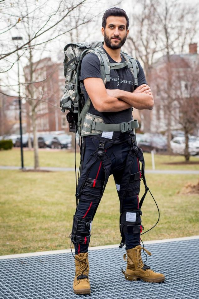 The latest iteration of Wyss' exosuit sees soft textile components wrap around the waist, thighs and calves that hook up to a mobile actuation system built into a backpack